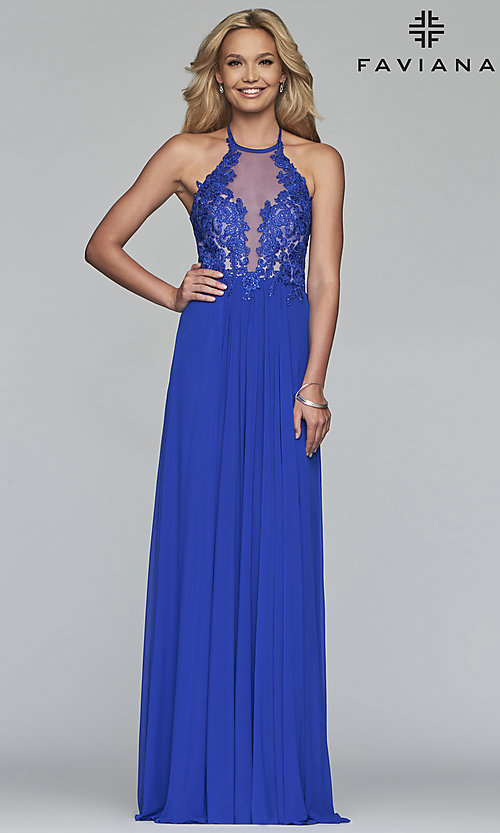 Image of long high-neck Faviana prom dress with embroidery. Style: FA-S10203 Detail Image 3
