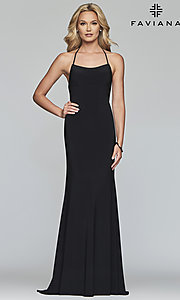 Image of Faviana long jersey prom dress with scoop neckline. Style: FA-S10205 Detail Image 5