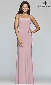 Image of Faviana long jersey prom dress with scoop neckline. Style: FA-S10205 Detail Image 3
