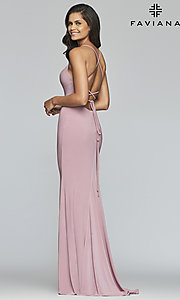 Image of Faviana long jersey prom dress with scoop neckline. Style: FA-S10205 Detail Image 4