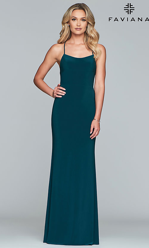 Image of Faviana long jersey prom dress with scoop neckline. Style: FA-S10205 Detail Image 7