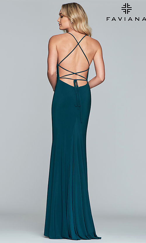 Image of Faviana long jersey prom dress with scoop neckline. Style: FA-S10205 Detail Image 8