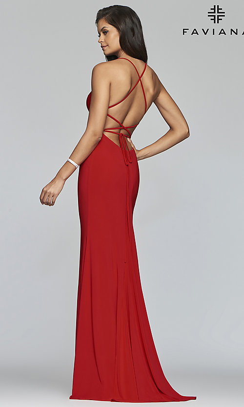 Image of Faviana long jersey prom dress with scoop neckline. Style: FA-S10205 Front Image