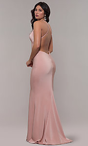 Image of sleeveless long fitted satin prom dress by Faviana. Style: FA-S10214 Detail Image 4