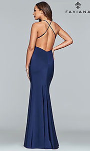 Image of sleeveless long fitted satin prom dress by Faviana. Style: FA-S10214 Back Image