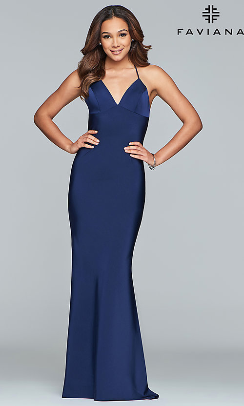 Image of sleeveless long fitted satin prom dress by Faviana. Style: FA-S10214 Front Image