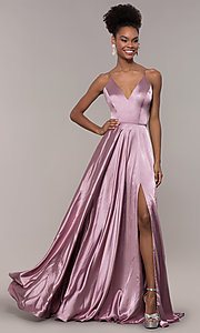 Image of long a-line Faviana formal prom dress with pockets. Style: FA-S10209 Back Image