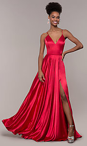 Image of long a-line Faviana formal prom dress with pockets. Style: FA-S10209 Detail Image 3