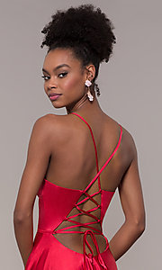 Image of long a-line Faviana formal prom dress with pockets. Style: FA-S10209 Detail Image 5