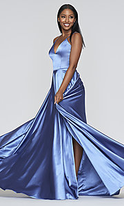 Image of long a-line Faviana formal prom dress with pockets. Style: FA-S10209 Detail Image 7