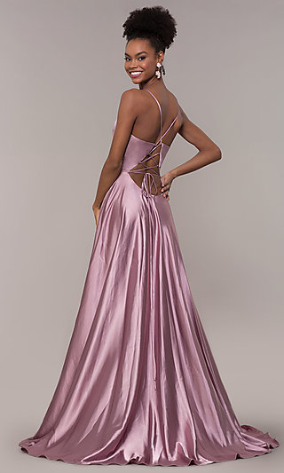 Long A-Line Faviana Formal Prom Dress with Pockets