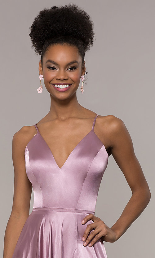 Image of long a-line Faviana formal prom dress with pockets. Style: FA-S10209 Detail Image 1