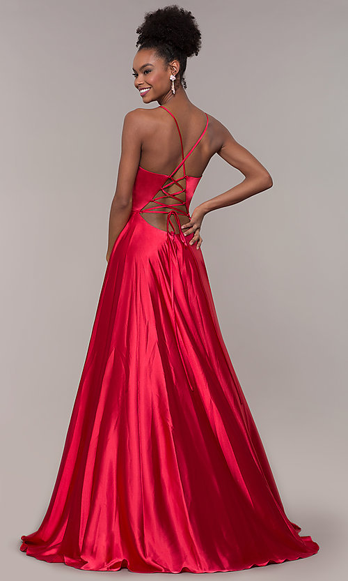 Image of long a-line Faviana formal prom dress with pockets. Style: FA-S10209 Detail Image 4