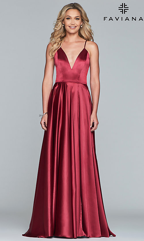 Image of long a-line Faviana formal prom dress with pockets. Style: FA-S10209 Detail Image 6