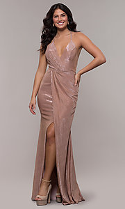 Image of racerback metallic long sparkly formal prom dress. Style: FA-S10215 Front Image