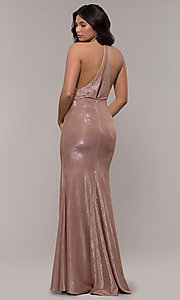 Image of racerback metallic long sparkly formal prom dress. Style: FA-S10215 Back Image