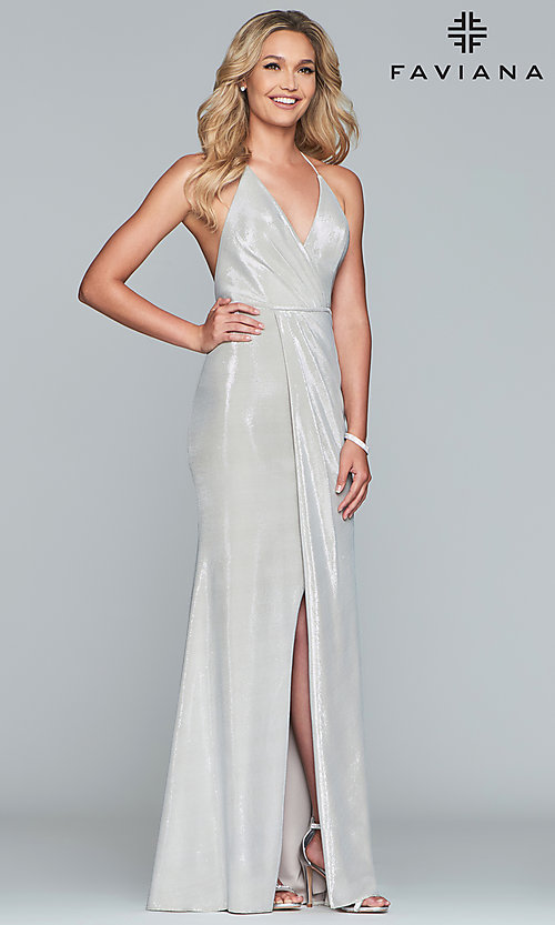 Image of racerback metallic long sparkly formal prom dress. Style: FA-S10215 Detail Image 4
