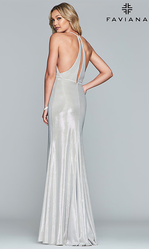 Image of racerback metallic long sparkly formal prom dress. Style: FA-S10215 Detail Image 5