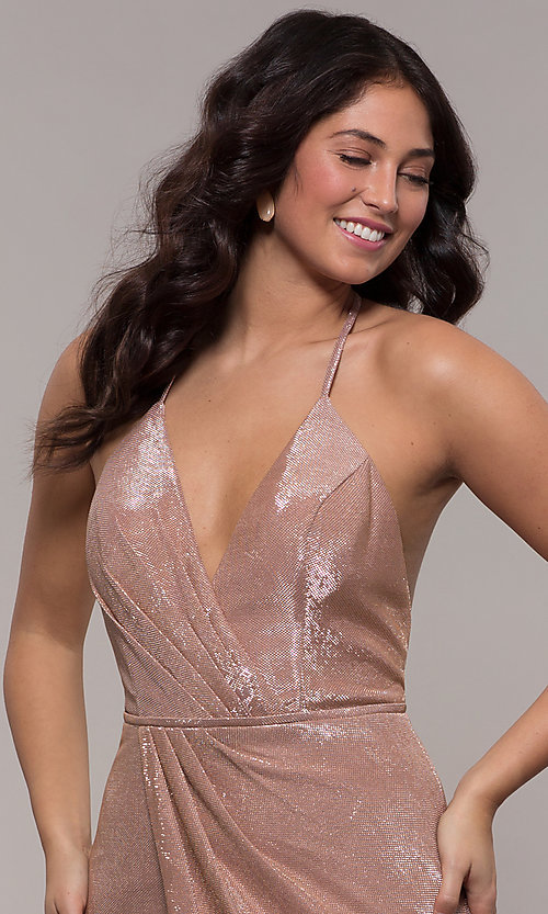 Image of racerback metallic long sparkly formal prom dress. Style: FA-S10215 Detail Image 1