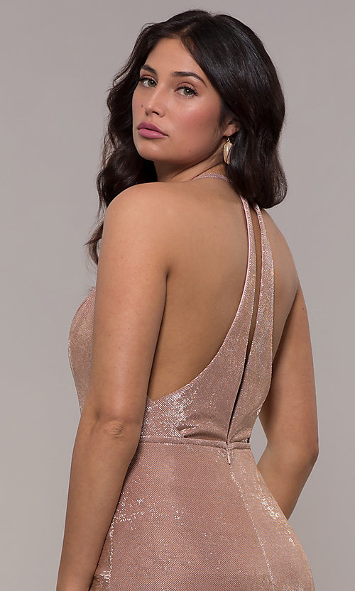 Image of racerback metallic long sparkly formal prom dress. Style: FA-S10215 Detail Image 2