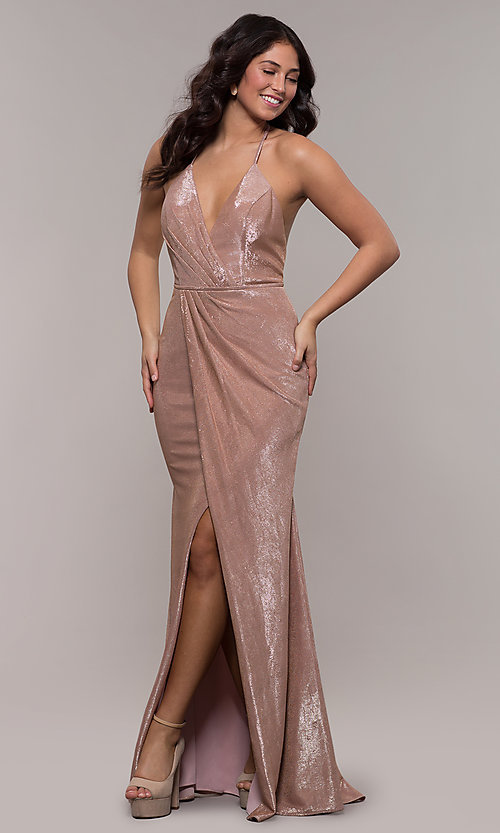 Image of racerback metallic long sparkly formal prom dress. Style: FA-S10215 Detail Image 3