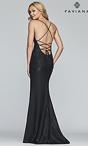 Image of metallic-jersey open-back long prom dress by Faviana. Style: FA-S10218 Detail Image 6
