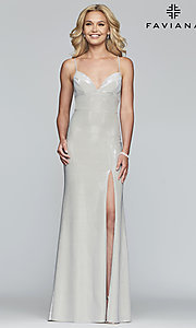 Image of metallic-jersey open-back long prom dress by Faviana. Style: FA-S10218 Detail Image 7