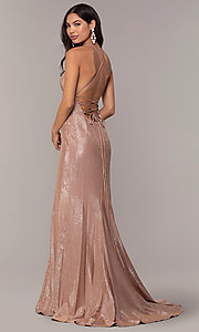Image of metallic-jersey open-back long prom dress by Faviana. Style: FA-S10218 Detail Image 4
