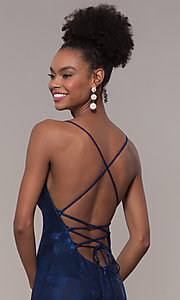 Image of metallic-jersey open-back long prom dress by Faviana. Style: FA-S10218 Detail Image 2