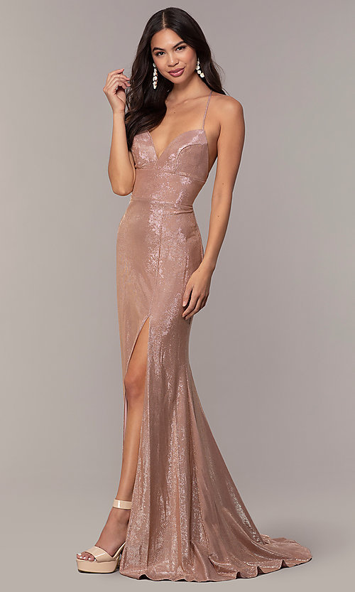 Image of metallic-jersey open-back long prom dress by Faviana. Style: FA-S10218 Detail Image 3