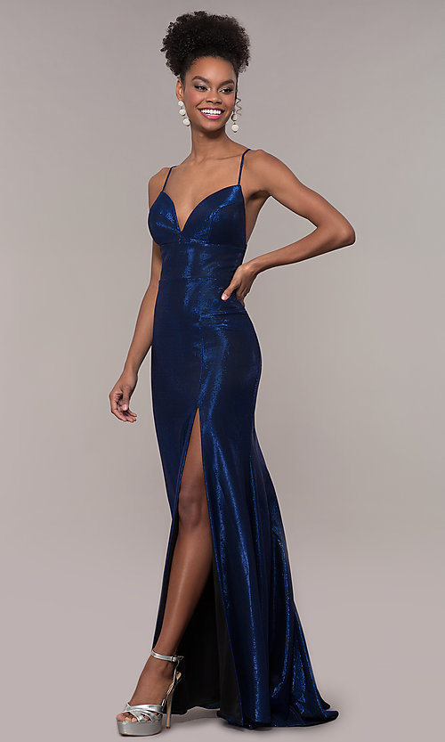 Image of metallic-jersey open-back long prom dress by Faviana. Style: FA-S10218 Front Image