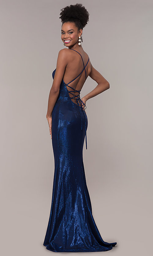 Image of metallic-jersey open-back long prom dress by Faviana. Style: FA-S10218 Back Image