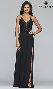 Image of Faviana long prom dress with embroidered bodice. Style: FA-S10228 Detail Image 5