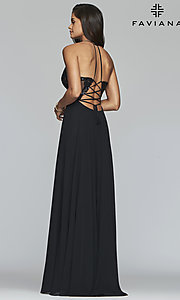 Image of Faviana long prom dress with embroidered bodice. Style: FA-S10228 Detail Image 6