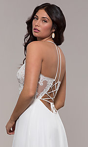 Image of Faviana long prom dress with embroidered bodice. Style: FA-S10228 Detail Image 4