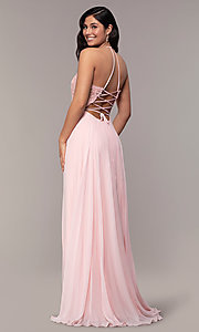 Image of Faviana long prom dress with embroidered bodice. Style: FA-S10228 Back Image
