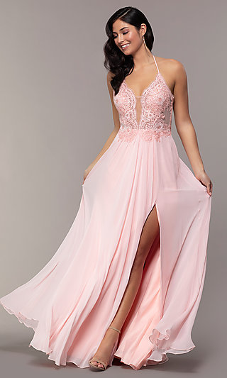 Faviana Long Prom Dress with Embroidered Bodice