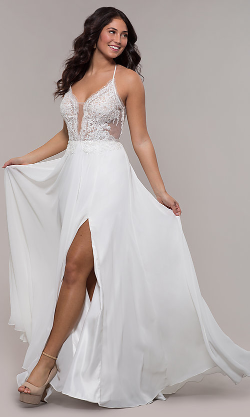 Image of Faviana long prom dress with embroidered bodice. Style: FA-S10228 Front Image
