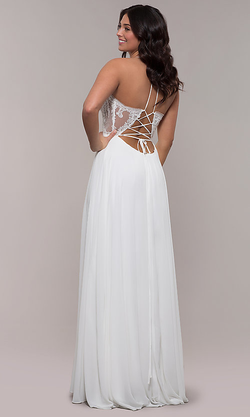 Image of Faviana long prom dress with embroidered bodice. Style: FA-S10228 Detail Image 2
