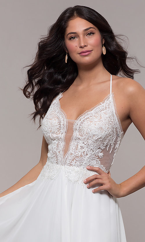 Image of Faviana long prom dress with embroidered bodice. Style: FA-S10228 Detail Image 3