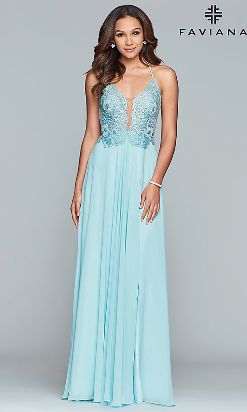 Image of Faviana long prom dress with embroidered bodice. Style: FA-S10228 Detail Image 7