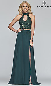 Image of long chiffon two-piece prom dress with embroidery. Style: FA-S10220 Detail Image 6