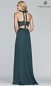 Image of long chiffon two-piece prom dress with embroidery. Style: FA-S10220 Detail Image 7