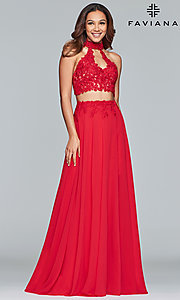 Image of long chiffon two-piece prom dress with embroidery. Style: FA-S10220 Front Image