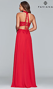 Image of long chiffon two-piece prom dress with embroidery. Style: FA-S10220 Back Image