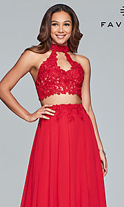 Image of long chiffon two-piece prom dress with embroidery. Style: FA-S10220 Detail Image 1
