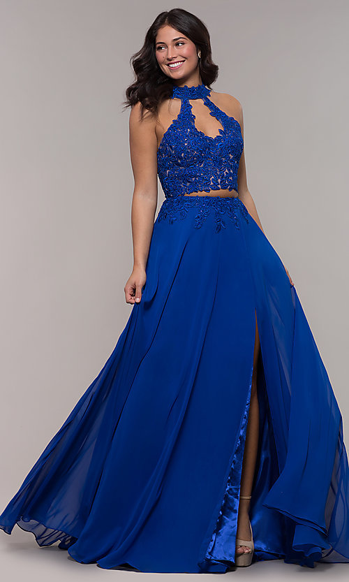 Image of long chiffon two-piece prom dress with embroidery. Style: FA-S10220 Detail Image 3