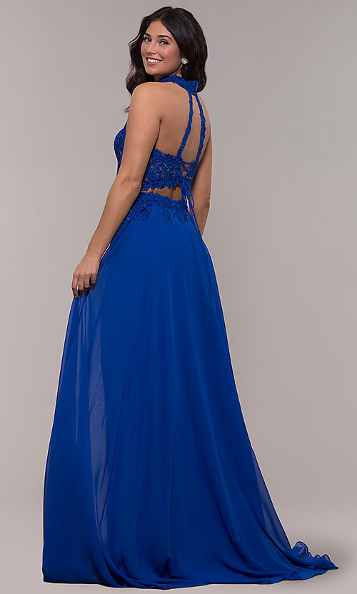 Image of long chiffon two-piece prom dress with embroidery. Style: FA-S10220 Detail Image 4