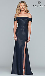 Image of fold-over off-the-shoulder metallic prom dress. Style: FA-S10216 Front Image