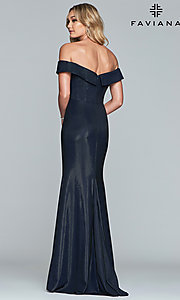 Image of fold-over off-the-shoulder metallic prom dress. Style: FA-S10216 Back Image